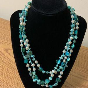 Blue & White triple layer necklace